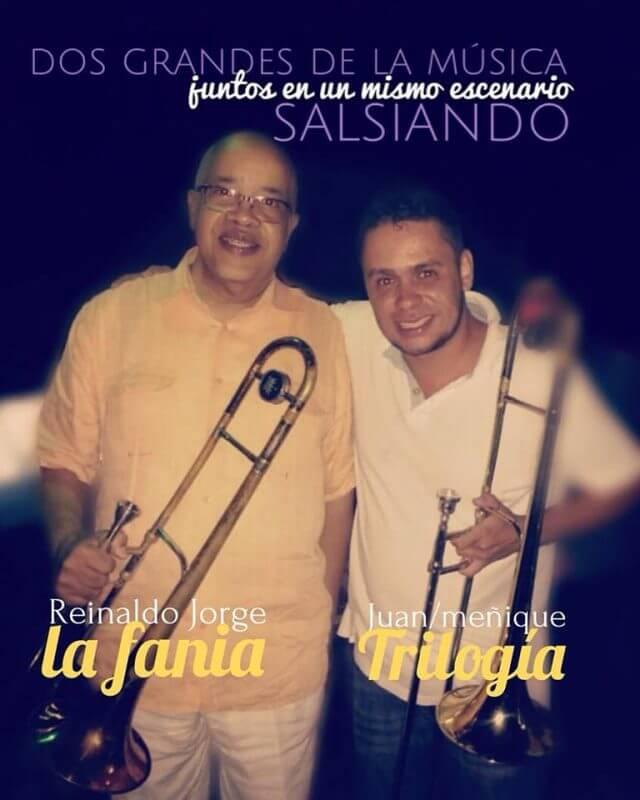 Meñique, trombonista de Trilogía Bar, compartiendo escenario con Reynaldo Jorge